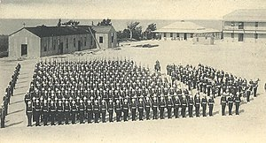 Prospect Camp, Bermuda - 3rd Battalion of the Royal Warwickshire Regiment on parade at Prospect Camp, circa 1902.