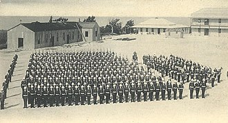 Bermuda Garrison - A company of infantry on parade at Prospect Camp