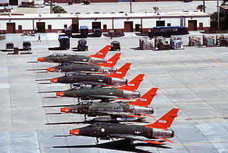 325th Fighter Wing - Image: QF 100 Super Sabres at Tyndall AFB 1990