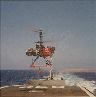 USS Allen M. Sumner - A QH-50 DASH drone hovering over Allen M. Sumner´s flight deck, 1969.