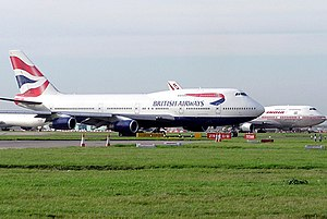 Boeing 747 aircraft taxiing at Heathrow Airpor...