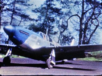 "RAF Bodney - A P-51 Mustang (PE-Z, serial number 42-106459) nicknamed "" La Riena Peg "" of the 352nd Fighter Group at Bodney, April 1944 running on a revetment at Bodney  Lt Col E Clark. PE-Z, 42106459 La Riena Peg.'"