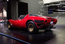 Rear three-quarter view of the prototype showcased in the Alfa Romeo Museum.