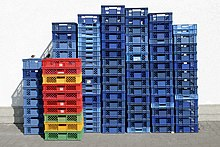 Rectangular plastic shipping crates in an Italian recycling plant.jpg