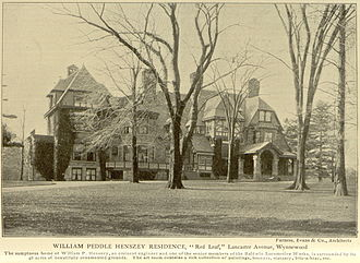 "Wynnewood, Pennsylvania - ""Red Leaf"" William P. Henszey mansion, 510-14 Lancaster Avenue, Wynnewood"