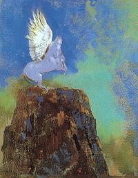 Pastel: cheval bleu ailé se cabrant sur un piton rocheux