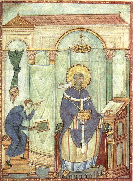 File:Registrum gregorii, san gregorio magno ispirato dalla colomba, 983 miniatura, treviri stadtbiblithek, 19,8x27 cm.jpg