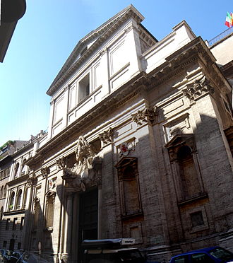 Santa Maria in Monserrato degli Spagnoli - Façade of the church of Holy Mary in Monserrato of the Spaniards, National Church in Rome of Spain.