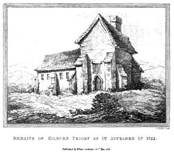Remains of Kilburn Priory as it appeared in 1722.jpg