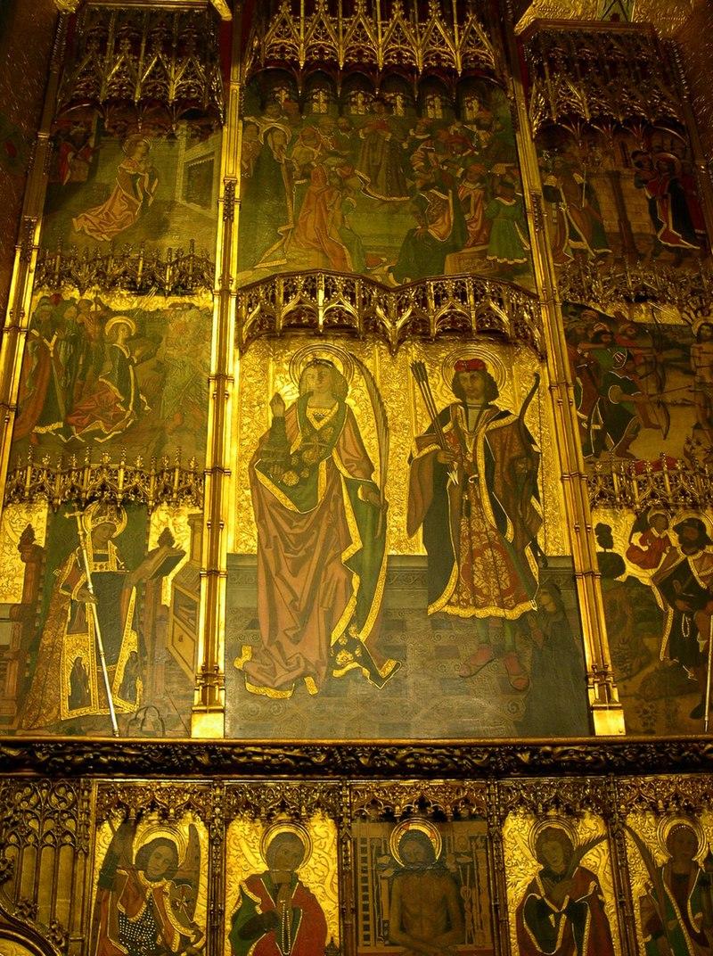 https://upload.wikimedia.org/wikipedia/commons/thumb/9/99/Retaule_Sant_Sebasti%C3%A0_i_Santa_Tecla_catedral_Barcelona.jpg/800px-Retaule_Sant_Sebasti%C3%A0_i_Santa_Tecla_catedral_Barcelona.jpg