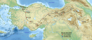 Ottoman–Safavid War (1623–39) - The campaign of Yerevan (1635) (Revan on the map) was led by sultan Murad IV and resulted in the capture of Yerevan on 8 August and Tabriz on 11 September.