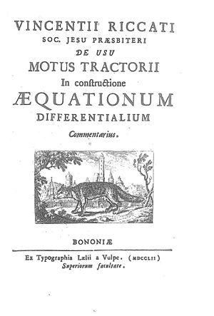 Vincenzo Riccati - De usu motus tractorii in constructione aequationum differentialium (1752)