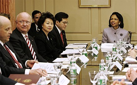 Condoleezza Rice convenes a meeting of the Commission for Assistance to a Free Cuba in December 2005 Rice Cuba Commission.jpg