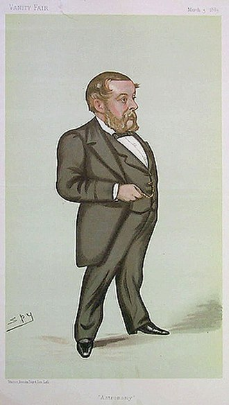 """Richard A. Proctor - """"Astronomy"""" Richard Proctor as caricatured by Spy in Vanity Fair, March 3, 1883"""