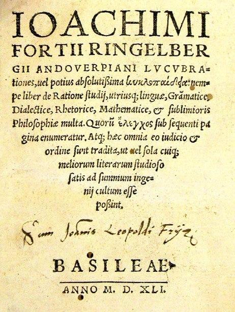 Ringelbergius, 'Lucubrationes...KYKLOPEDEIA...' ed. Basel 1541 original