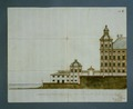 Ritning över sjögården med fasaden mot norr - Skoklosters slott - 65142.tif