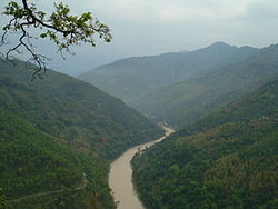 The Teesta River flows for almost the entire length of Sikkim.