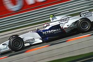 Kubica podczas treningów przed Grand Prix Stanów Zjednoczonych 2006 (BMW F1.06)