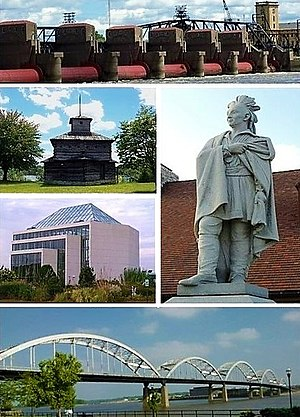 Rock Island, Illinois - Clockwise from top: Lock and Dam No. 15, statue of Black Hawk, Rock Island Centennial Bridge, Quad City Botanical Center, replica of a Fort Armstrong blockhouse.