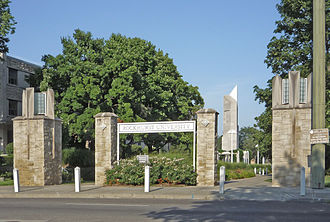 Rockhurst University - Rockhurst University, entrance at Troost Avenue.