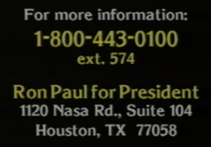 Ron Paul presidential campaign, 1988 - Paul filmed an eight-minute television commercial
