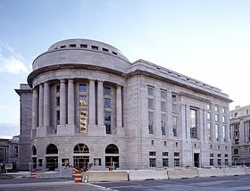 Ronald Reagan Building, under construction in the 1990s in Washington, D.C..jpg