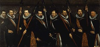 Portret van zeven officieren en de waard van de Sint Jorisdoelen in Rotterdam