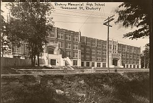 Roxbury Memorial High School - External view of the high school, circa May 1927