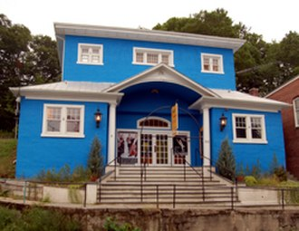 Blairstown, New Jersey - Now painted a bright blue, historic Roy's Hall is a highlight of Blairstown's Main Street.