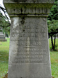 Inscription on Peckham's cenotaph at Albany Rural Cemetery Rufus Wheeler Peckham cenotaph.jpg