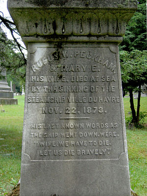 SS Ville du Havre - Inscription on Peckham's cenotaph at Albany Rural Cemetery