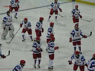 Russia women's national ice hockey team - The Russian women warming up before the game against China at the 2010 Winter Olympics.