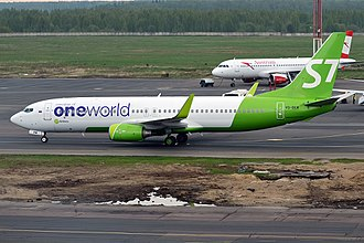 Oneworld - A S7 Airlines (Globus Airlines) Boeing 737-800 in the Oneworld livery.