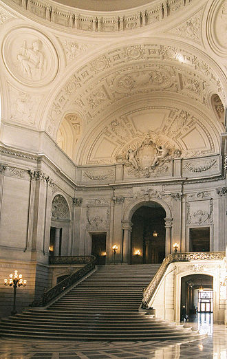 San Francisco City Hall - Interior stairs lead to the Board of Supervisor's meeting chamber