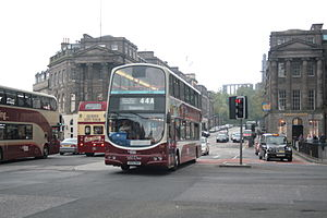 Lothian Buses - Wright Eclipse Gemini bodied Volvo B7TL on route 44A entering Princes Street in May 2013