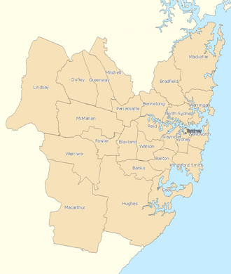 Divisions of the Australian House of Representatives - Electoral divisions: Sydney area