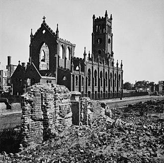 Cathedral of Saint John and Saint Finbar - Cathedral of St. John and St. Finbar after the Great Fire of 1861