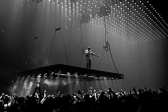 The Life of Pablo - West performing during the Saint Pablo Tour in 2016.
