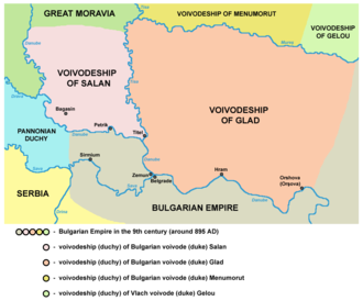 Bulgarian–Hungarian wars - The duchies of Glad and Salan within the Bulgarian Empire. The lands of Menumorut were located to the north of Glad's duchy.