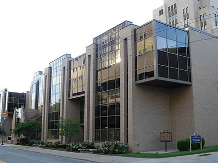 Salk Hall, where Jonas Salk's team performed the research that led to the first polio vaccine, is also the home of the School of Dental Medicine and School of Pharmacy. Salk Hall Annex.JPG