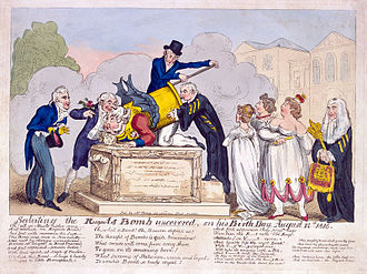 Cádiz Memorial - Saluting the Regent's Bomb Unveiled on his Birth-Day, August 12th, 1816, by George Cruikshank