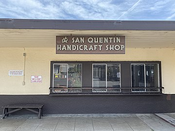 The San Quentin Handicraft Shop, where art created by people incarcerated in the prison is sold. Money from sales goes to the Inmate Welfare Fund and restitution