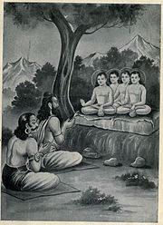 Sanaka and other sages preaching to Shukracharya and Vrutrasura