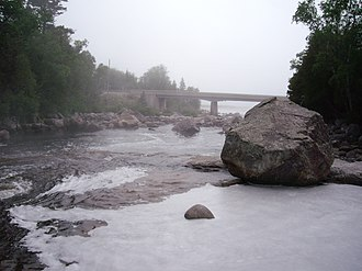 Sand River (Ontario) - Looking downstream to Ontario Highway 17 bridge and the river mouth