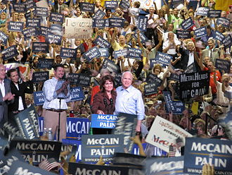 2008 United States presidential election - John McCain and Sarah Palin onstage with Todd Palin, Cindy McCain and Robert Duvall in Albuquerque, New Mexico, September 6, 2008