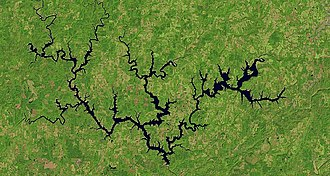 Lewis Smith Lake - Overhead satellite image taken in 2015 by Landsat 8 of Lewis Smith Lake located in North Alabama.