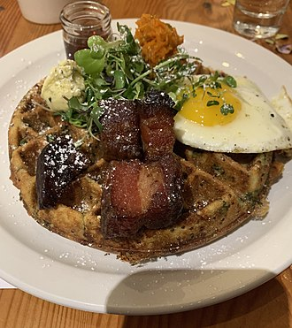 Brunch - Savory waffle with traditional breakfast toppings.