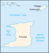 Location of Scarborough in Trinidad and Tobago.