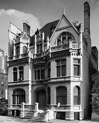 Theophilus P. Chandler Jr. - Scott-Wanamaker townhouse, 2032 Walnut St., Philadelphia (1883-86, demolished 1981). The Jacobean Revival façade survives, with modern townhouses built behind it.