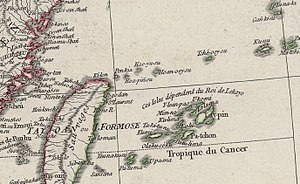 Senkaku Islands - An extract from a map of Asia (China and Tartary) drawn by Jean Baptiste Bourguignon d'Anville in 1752.